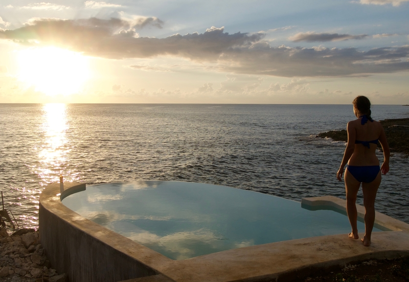 Infinity pool at a budget hotel in Negril, Jamaica